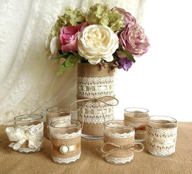 Burlap And Lace Covered Votive Tea Candles And Vase Country Chic Wedding Deco...