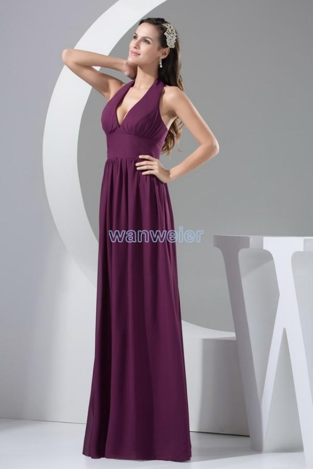 Find your v neck halter plus size floor length purple for Plus size purple wedding dress