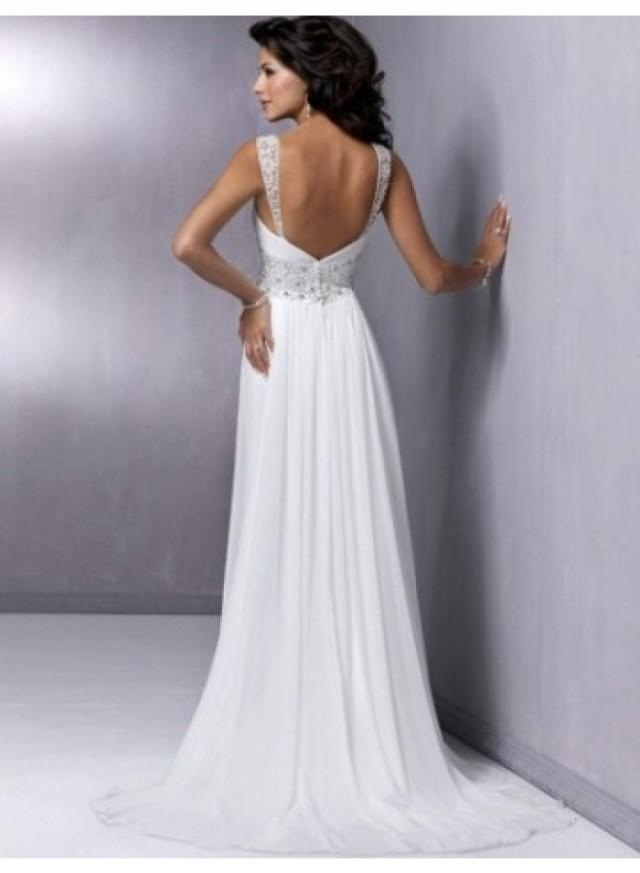 line spaghetti straps crystal belt slim chiffon wedding dresses