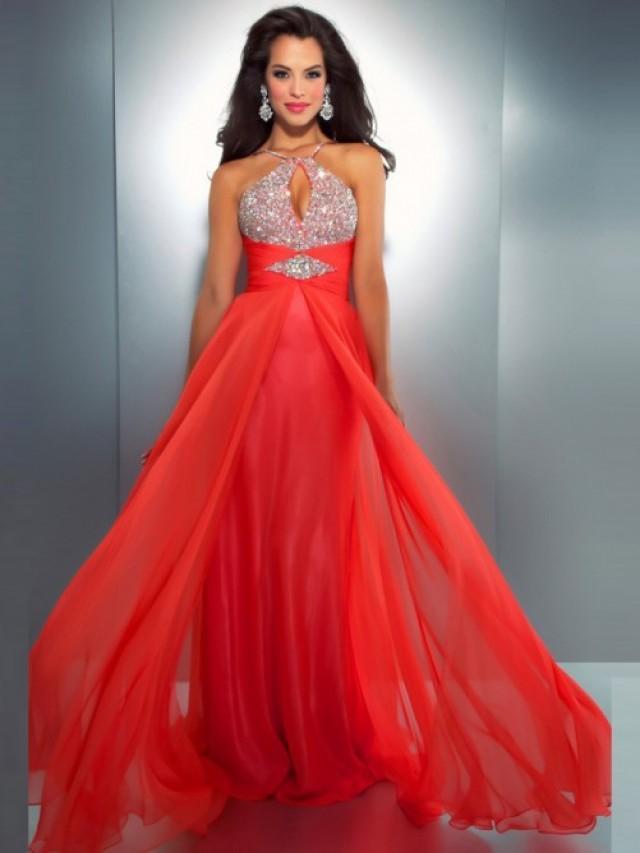 wedding photo - A-Linie/Princess-stil rmellos Neckholder Chiffon Bodenlang Perlenstickerei Kleider