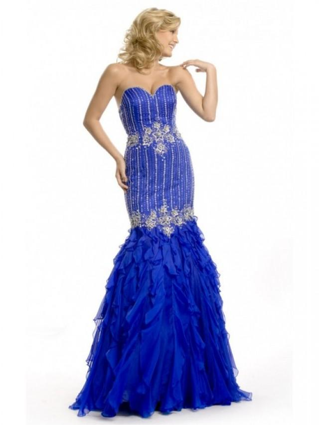wedding photo - Royal Blue Mermaid Floor-length Sweetheart Dress