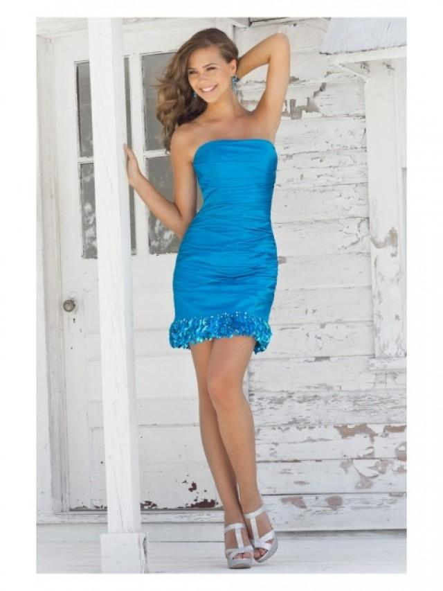 wedding photo - Blue Sheath/Column Short/Mini Strapless Dress