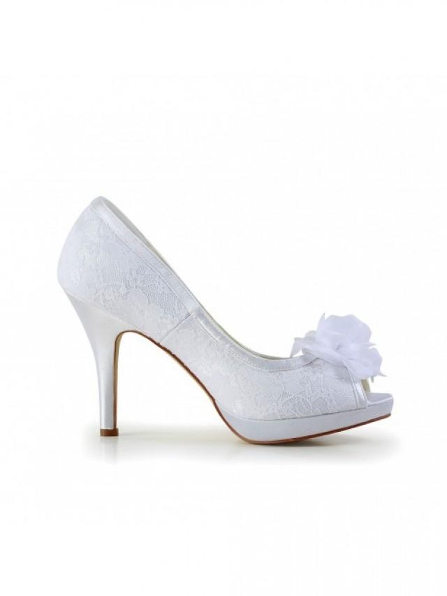 wedding photo - Satin Peep Toe Stiletto Heel Shoes With Flower