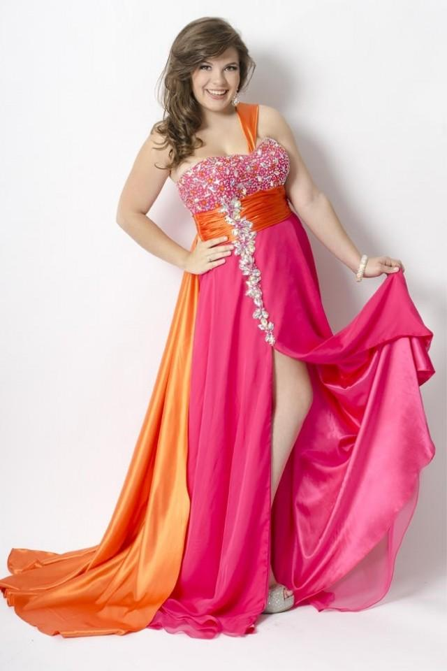 wedding photo - Bicolor Chiffon And Elastic Satin High Slit Plus Size Prom Dress PD0966