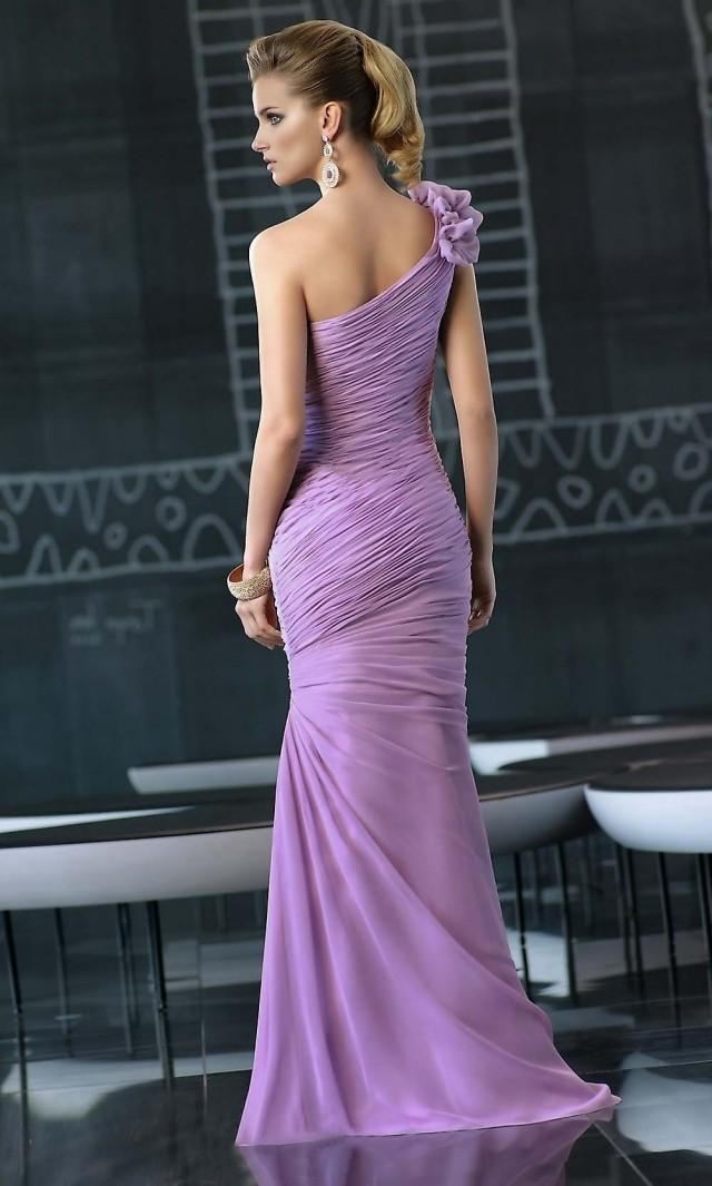 wedding photo - Shealth One-shoulder Floor-length Chiffon with Flowers Prom Dress
