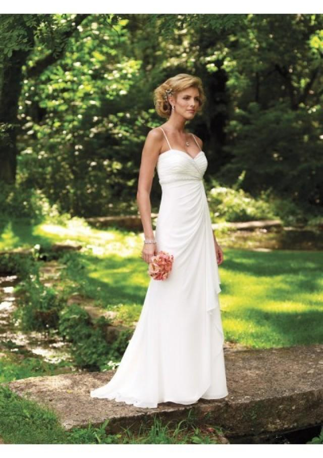 wedding photo - Chiffon Sweetheart Spaghetti Straps With Rouched A-line Skirt And Sweep Train Summer Wedding Gown WD1005
