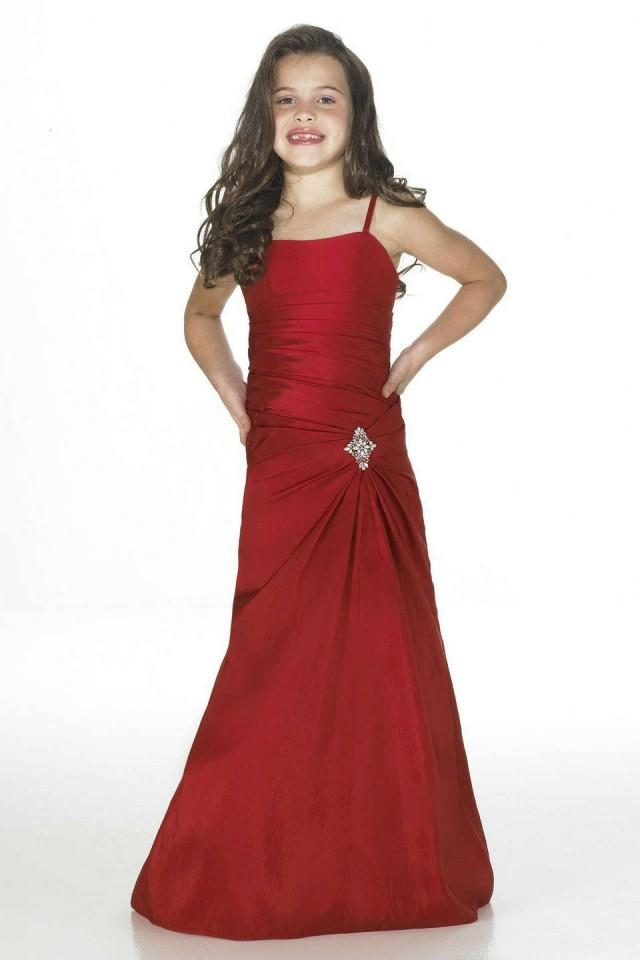 wedding photo - Column Satin Red Flower Girl Dress 2013