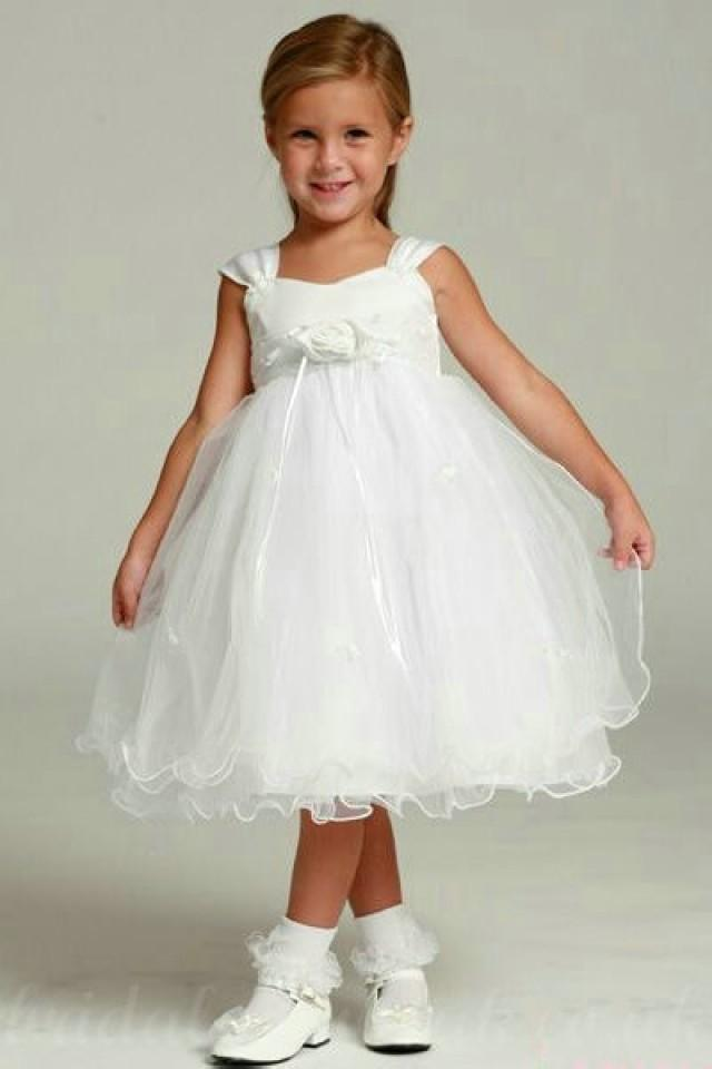 wedding photo - Organza Sash Square A Line Tea Length Cute Formal Junior Dressses