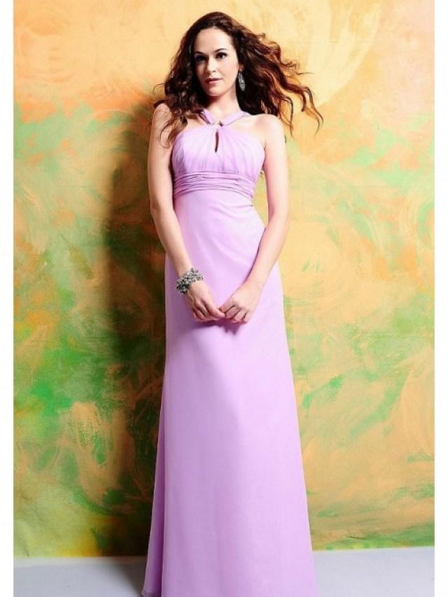 wedding photo - A-line/Princess High Neck Floor-length Chiffon Wedding Party Dresses