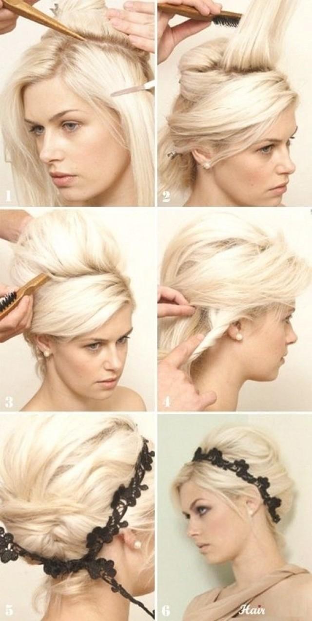 Прически на средние волосы средней длины с резинками