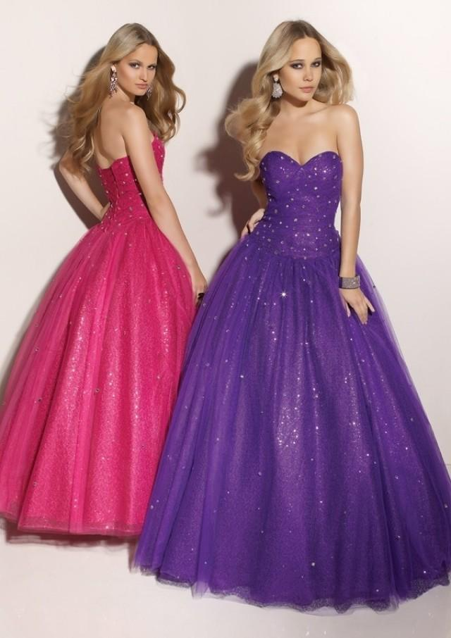 wedding photo - Deep Purple Beaded Ball Gown Sweetheart Tulle Prom Dress PD1078