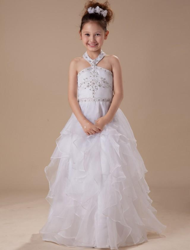 wedding photo - Hater Organza Satin White Kid Dresses For Wedding