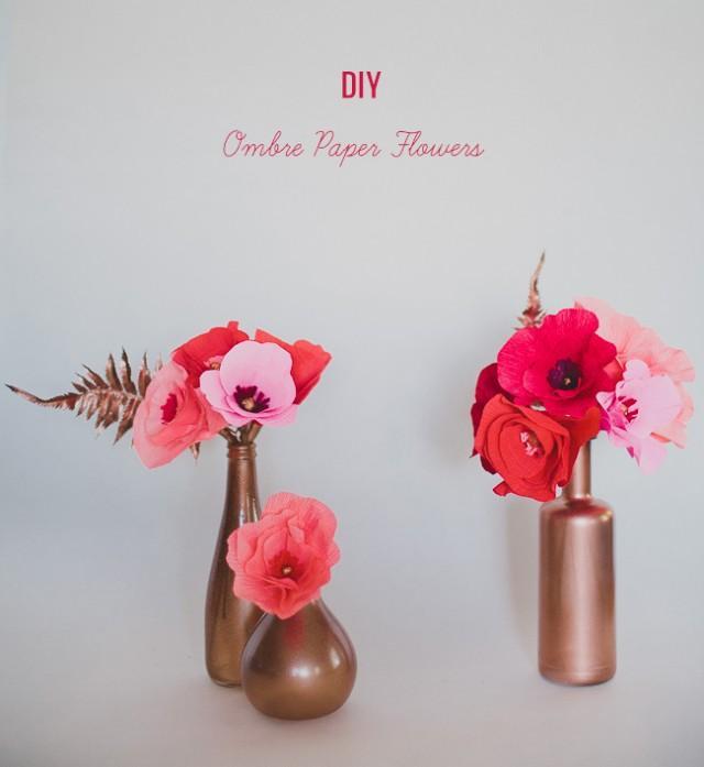 Diy ombre paper flowers weddbook mightylinksfo
