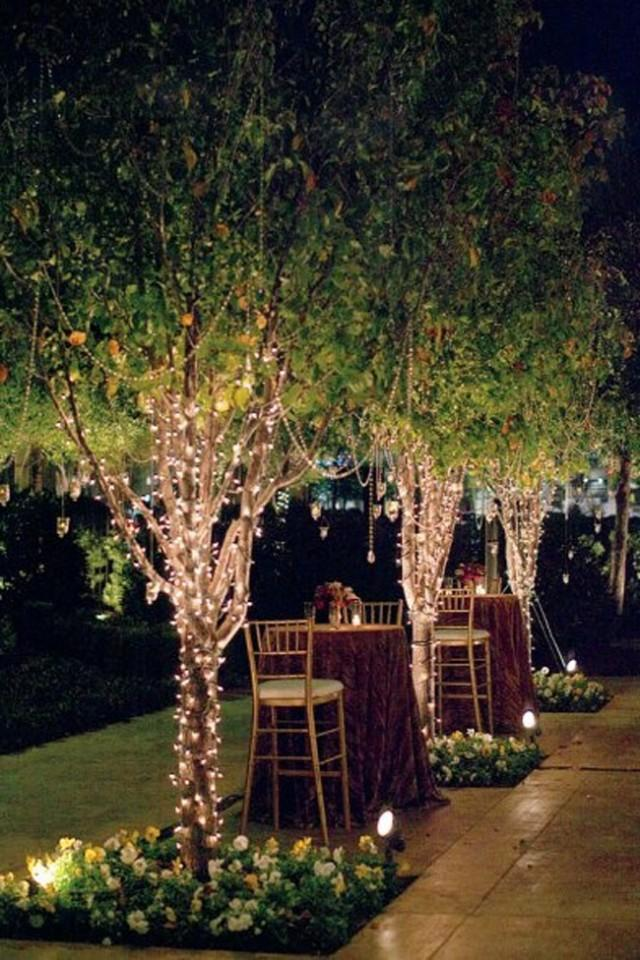 How To String Lights On An Outside Tree : Garden Wedding - String Lights In Trees #2096605 - Weddbook