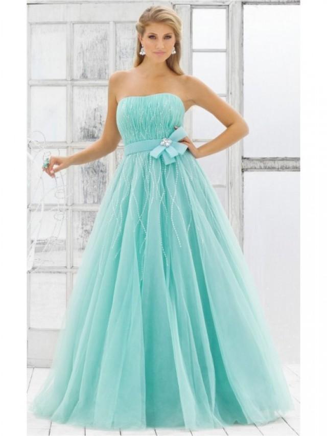 wedding photo - Attractive Blue Ball Gown Floor-length Strapless Dress