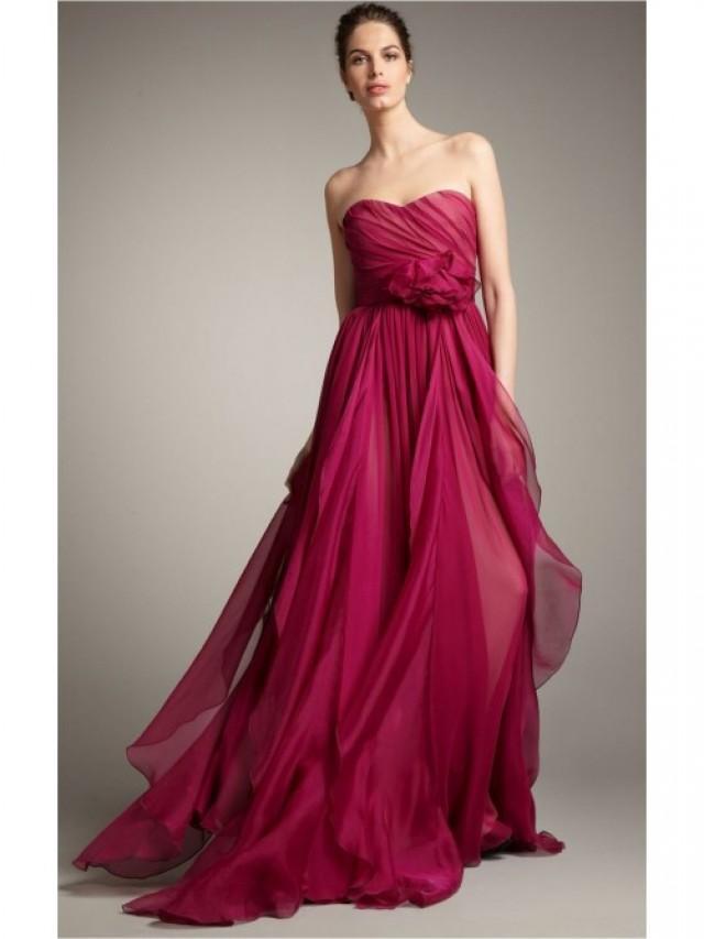 wedding photo - Burgundy A-line Floor-length Sweetheart Dress