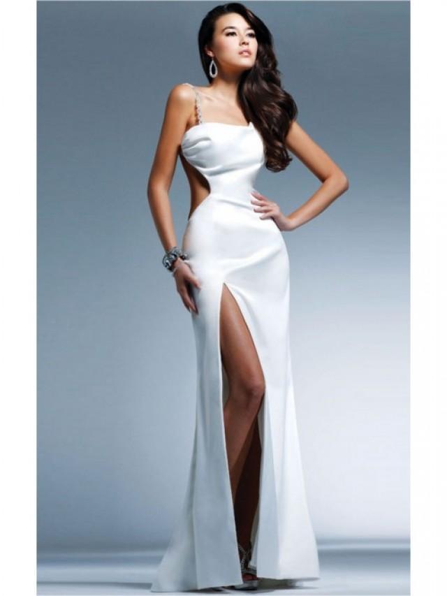 wedding photo - Amazing White Sheath Floor-length Spaghetti Straps Dress