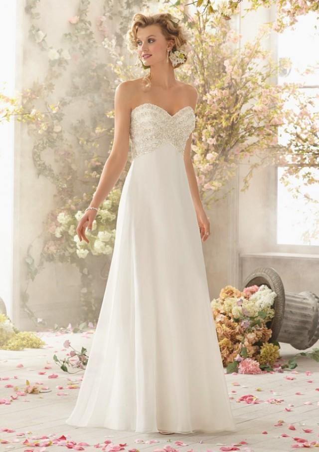wedding photo - Crystal And Pearl Beading On Delicate Chiffon Wedding Dresses(HM0244)