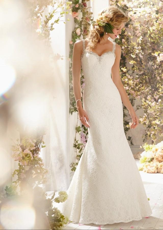 wedding photo - Poetic Lace Trimmed With Diamanté Beading Wedding Dresses(HM0242)