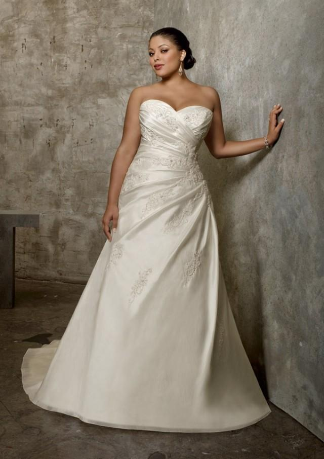 wedding photo - Luxe Taffeta With Lace Appliques Wedding Dresses(HM0238)