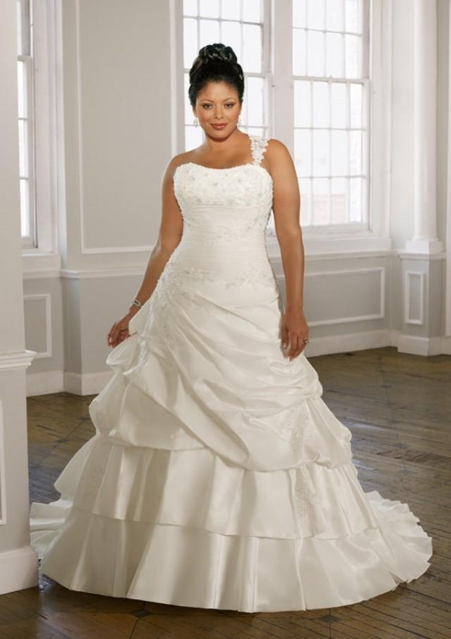 wedding photo - Radiant Taffeta With Alencon Lace Wedding Dresses(HM0237)