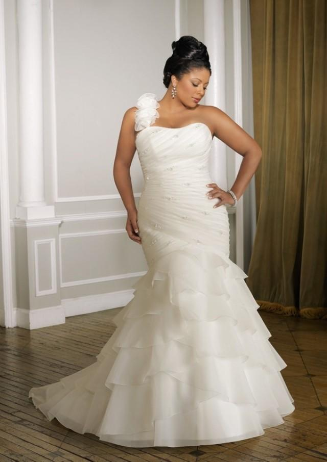 wedding photo - One-shoulder Court Train Trumpet Organza Wedding Dress(WD0561)
