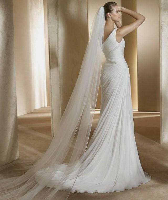 wedding photo - One-shoulder Sweep Train Sheath Chiffon Wedding Dress(WD0582)
