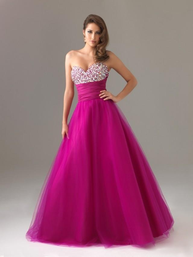 wedding photo - Fuchsia Beaded A-line Sweetheart Sweep Train Tulle Taffeta Prom Dress PD0140