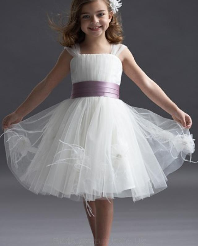 wedding photo - Attractive Straps Square Neckline With Purple Sash Flower Girl Dress