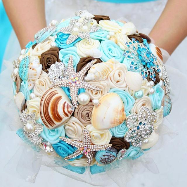 Dreamy Ocean Bouquet, Shells, Crystals, Starfish, Brooch ...