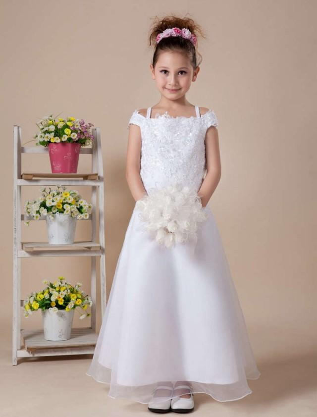 wedding photo - Destination Flower Girl Dresses Off Shoulder Beaded
