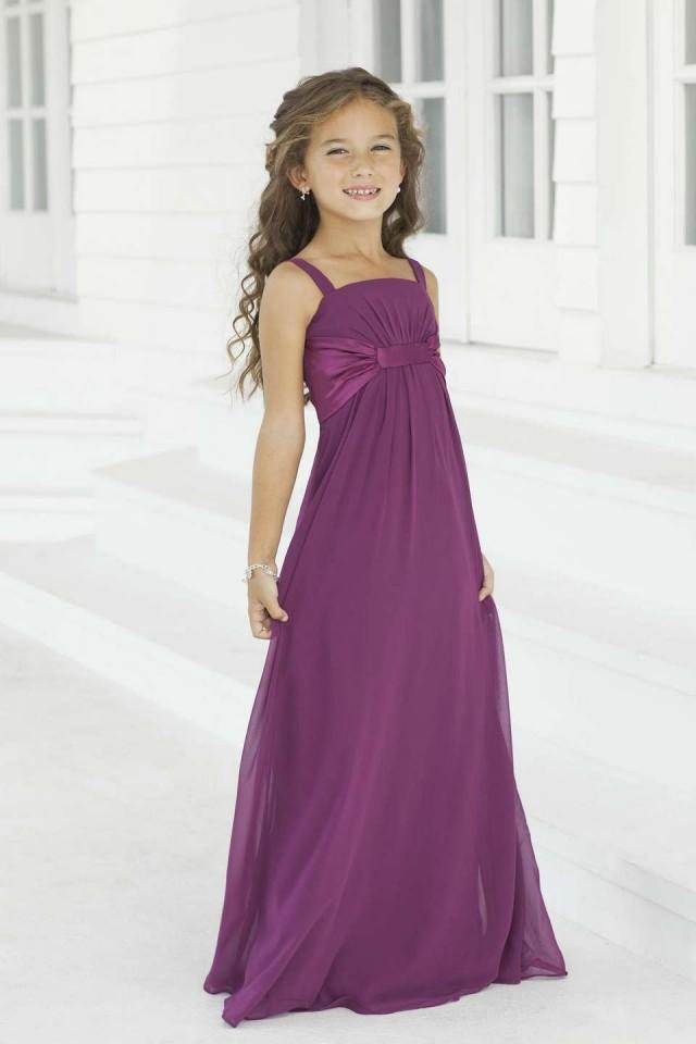 wedding photo - Purple Chiffon Long Flower Girl Dresses