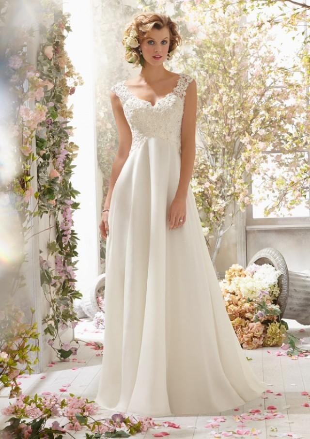 wedding photo - Alençon Lace On Delicate Chiffon- Detachable Back Cowl Wedding Dresses(HM0246)