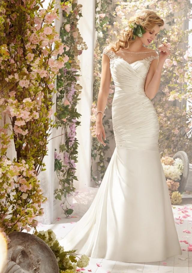 wedding photo - Intricately Beaded Appliqués On Soft Satin Wedding Dresses(HM0245)