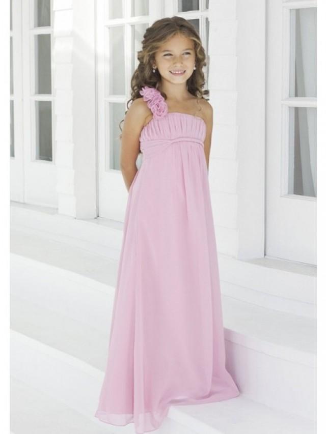 wedding photo - A-Line One-Shoulder Floor-Length Chiffon Empire Junior Bridesmaid Dresses