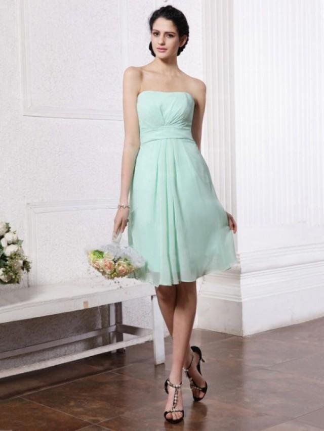 wedding photo - A-Line Sheath/Column Strapless Chiffon Evening Dresses