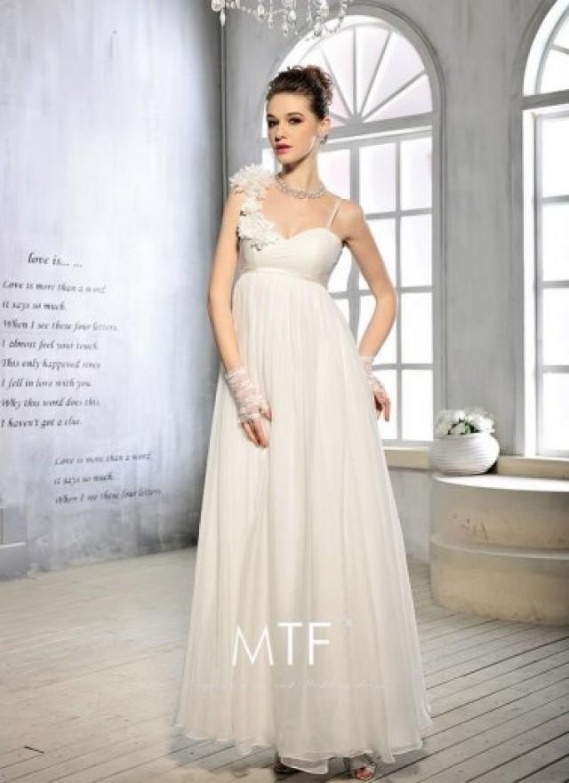 White Floral Strap Long Lace Up Back Wedding Dress On Sale