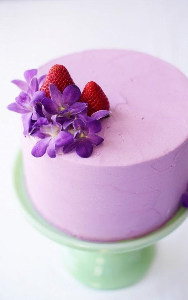 Strawberry Lavender Buttermilk Cake