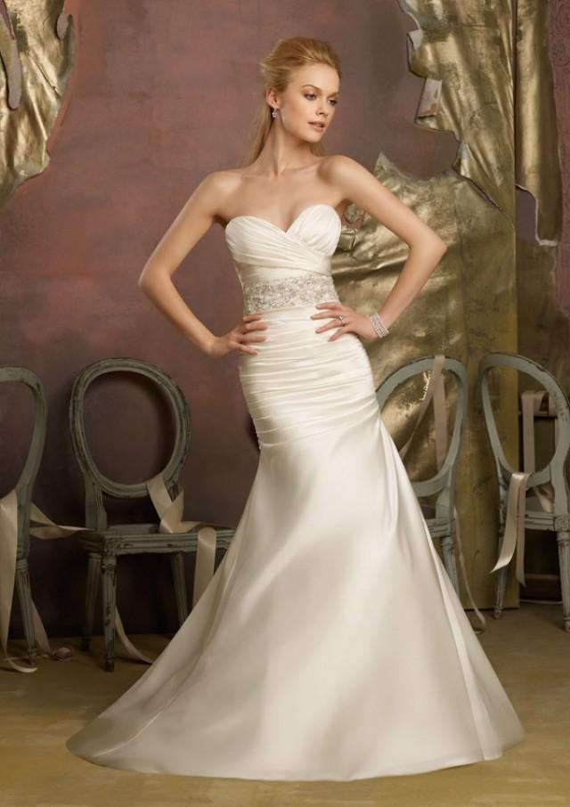 wedding photo - Crystal Beaded Duchess Satin Wedding Dresses(HM0271)