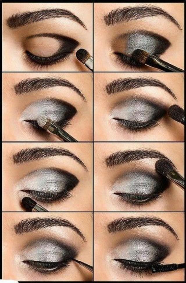 Макияж глаз пошаговое фото для серых