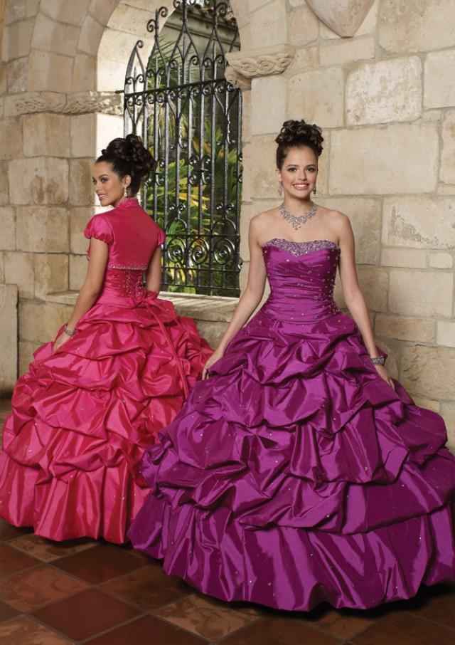 wedding photo - Beaded Taffeta - Matching Bolero Bridesmaids Dresses(HM0598)