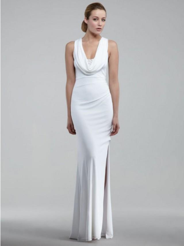 wedding photo - Sheath/Column Sleeveless Elastic Woven Satin Floor-length Evening Dress