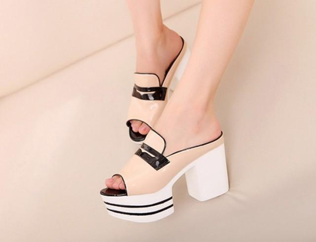 wedding photo - Western Style Waterproof Fish Mouth Thin Heels Sandal Silver Silver SD0435