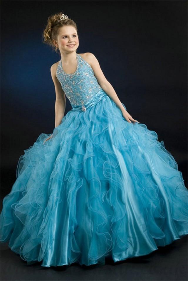 wedding photo - A line Halter Beading Ruched Waistband Blue Organza Girl Pageant Dress, Flower Girl Dresses - 58weddingdress.com