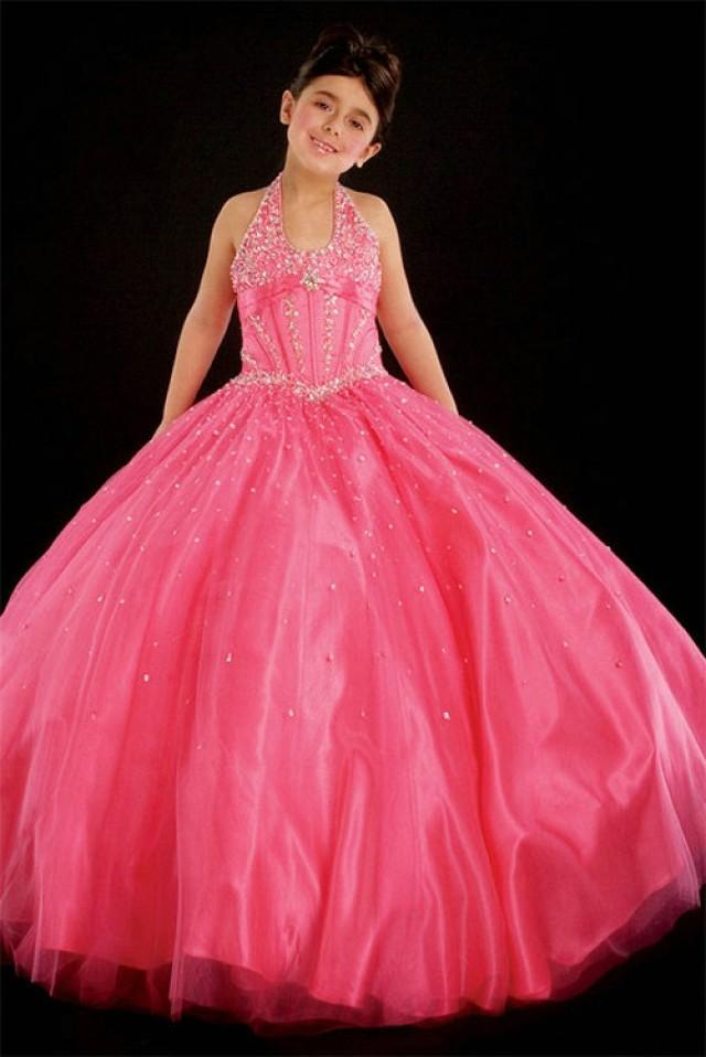 wedding photo - Ball Gown Halter Beading Tulle Red Satin Girl Pageant Dress, Flower Girl Dresses - 58weddingdress.com