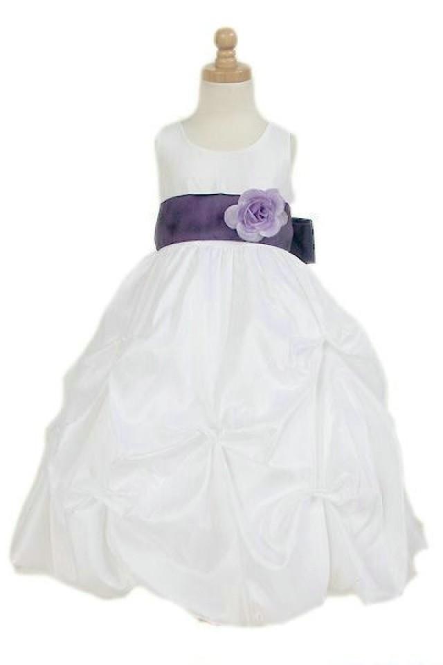 wedding photo - Organza Common Flower Sash Trimed Ball Gown Junior Formal Dress, Flower Girl Dresses - 58weddingdress.com