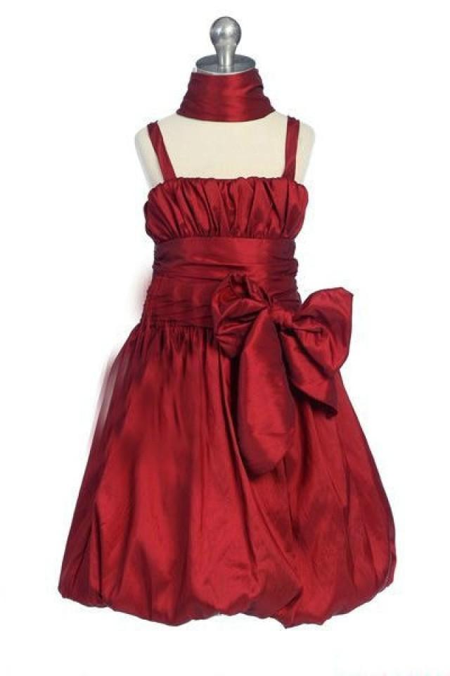 wedding photo - Red Bow Square Ruffles Perfect Design Flower Prom Dresses, Flower Girl Dresses - 58weddingdress.com