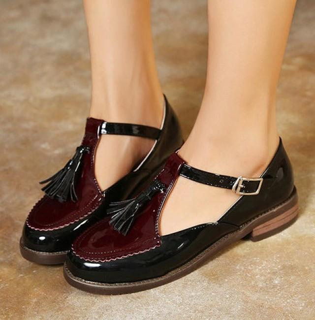 wedding photo - Casual Style Cusp Head Shoes Flat Black FT0103