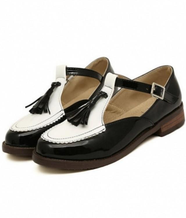 wedding photo - Vintage Vogue Retro Low Heels Shoes Flat Black FT0101