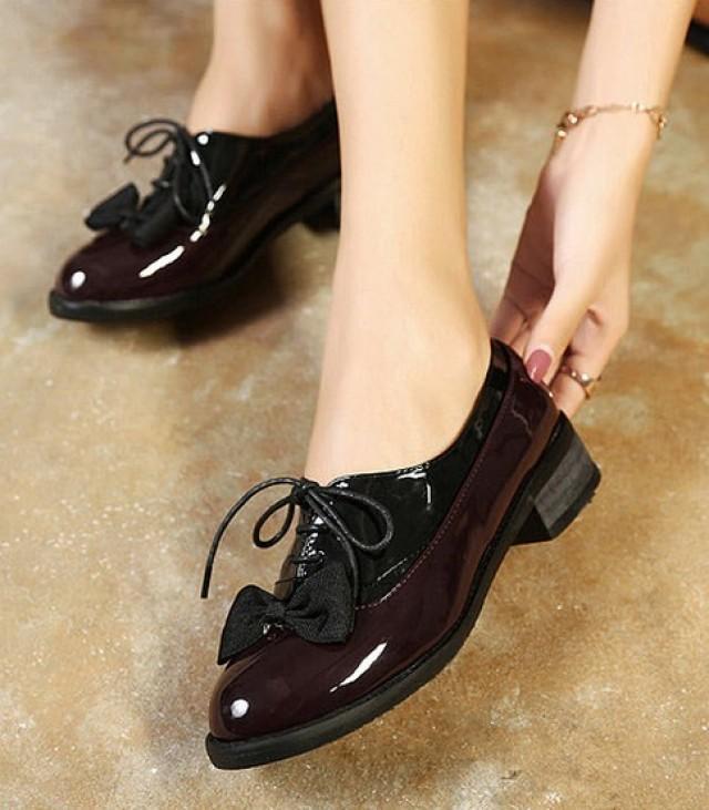 wedding photo - Korean Style Bear Embellished Shoes Flat Black FT0097